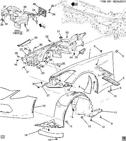 2014 19 Corvette C7 Front Right Fender Inner Wheelhouse Panel