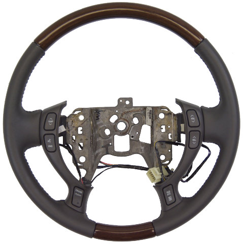 2002 2004 Cadillac Deville Seville Steering Wheel Dark Gray Leather W Wood New