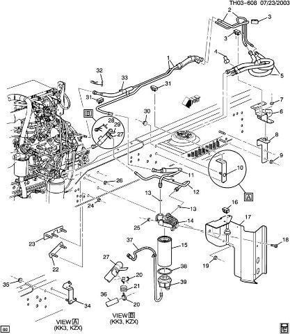 2003-2009 Topkick/Kodiak C6500-C8500 Fuel Filter W/Bracket ...