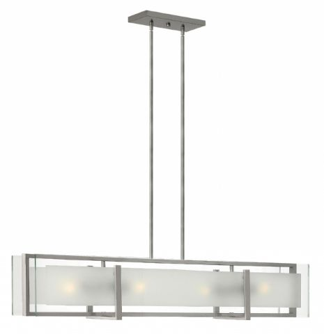 Hinkley Latitude 4-Light Linear Chandelier in Brushed Nickel 3996BN OPEN BOX
