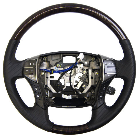 2011-2012 Toyota Avalon Steering Wheel Black Leather W/Woodgrain 4510007370C0