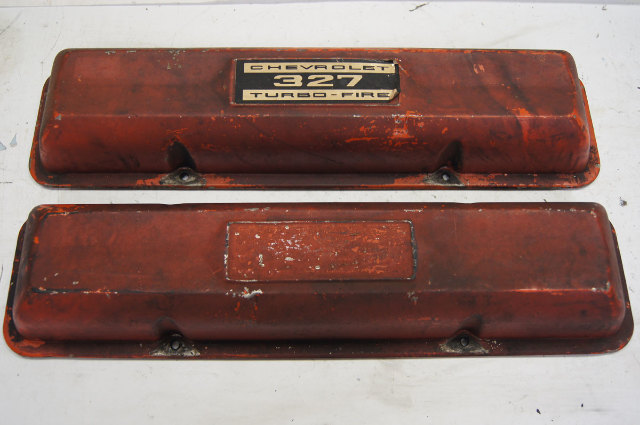 1962-1963 Chevy Corvette C3 327 Turbo-Fire Valve Covers Used OEM Red