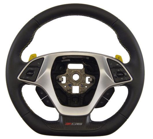 2014-18 Corvette C7 Z06 Steering Wheel Black Leather W/Yellow Stitch New84198734