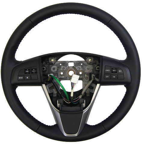 2011 2012 Mazda 6 Steering Wheel Black Leather W Audio
