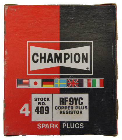 Champion Copper Plus Resistor Spark Plugs Box Of 4 New Old Stock RF9YC-409