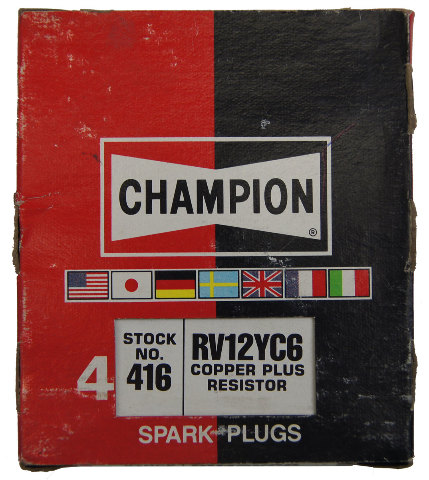 Champion Copper Plus Resistor Spark Plugs Box Of 4 New Old Stock RV12YC6-416