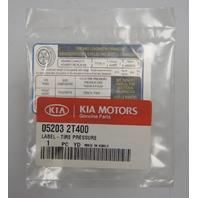 2011-2013 Kia Optima Tire Pressure Label New OEM 052032T400