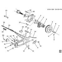 1988-1996 Chevy Corvette C4 Rear Left Wheel Bearing Hub Bracket Used 10052211