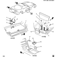 1997-2004 Chevy Corvette C5 Rear Left LH Module Cover Gray Carpet Used 10286260