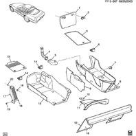 98-01 Chevy Corvette C5 Fuse Panel Cover Panel Oak Tan Carpet 10290671 10273083