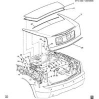 2004-2009 Cadillac XLR Rear Folding Top Convertible Compartment Panel 10365007