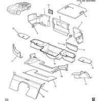 1998-2000 Chevy Corvette C5 Rear RH Carpet Panel Oak Tan Used OEM 10409825