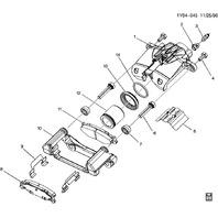 1997-2004 Chevy Corvette C5 Rear Brake Caliper Bracket Used 12455800 88952503