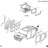 2003-2009 Hummer H2 Left Front Door Interior Weatherstrip New 15223811 15173634