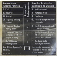 GM Trucks Allison Transmission Gear Select Label French & English New 15761435