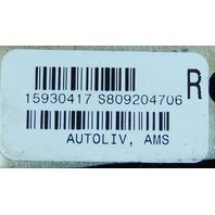 2004-2009 Cadillac XLR Right Seat Belt (DAMAGED: scratched, scuffed) 15930417