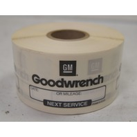 500 Stickers GM Goodwrench Oil Change Service Reminder Labels New 1 Roll