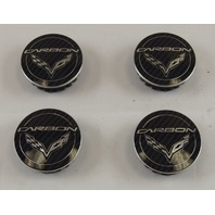 2014-2018 Corvette C7 Wheel Center Cap Set (4) CARBON Black New OEM 20918542