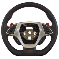 2014-2018 Corvette C7 Z06 Steering Wheel Black Leather W/Red Stitch New 84198725