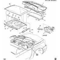 2004-08 Cadillac XLR Rear Left Upper Folding Top Trim Panel Black Used 88957028
