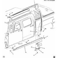 2009-2010 Hummer H3T Left Rocker Molding Assembly New Gray 94734735 94734469