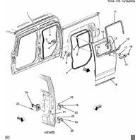 2009-10 Hummer H3T Rear RH Lower Outside Window Seal 94741819 94731752 94720561
