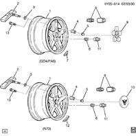 1997-1999 Corvette C5 Front Wheel Used 17X8.5 Silver Used QD4 9592524 09592524